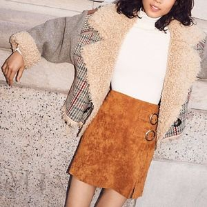 BLANK NYC Suede Leather Mini Skirt